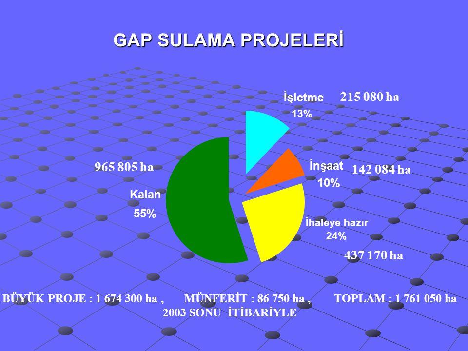 GAP SULAMA PROJELERİ 215 080 ha 965 805 ha 142 084 ha 437 170 ha