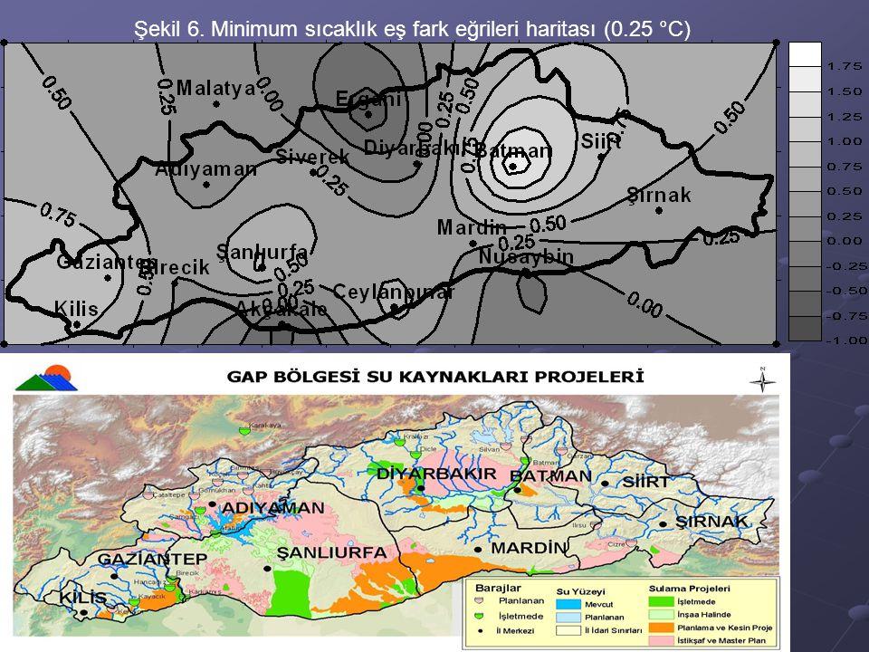 Şekil 6. Minimum sıcaklık eş fark eğrileri haritası (0.25 °C)