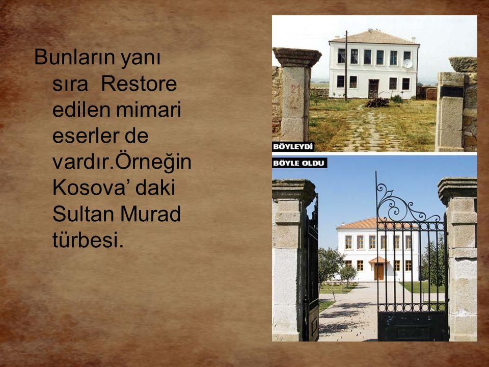 Bunların yanı sıra Restore edilen mimari eserler de vardır