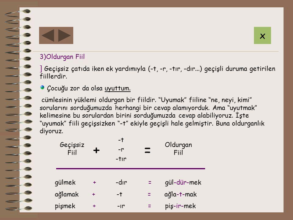 x 3)Oldurgan Fiil. Geçişsiz çatıda iken ek yardımıyla (-t, -r, -tır, -dır...) geçişli duruma getirilen fiillerdir.