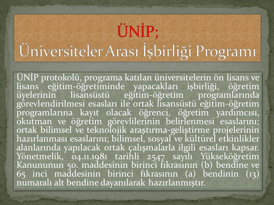 ÜNİP; Üniversiteler Arası İşbirliği Programı