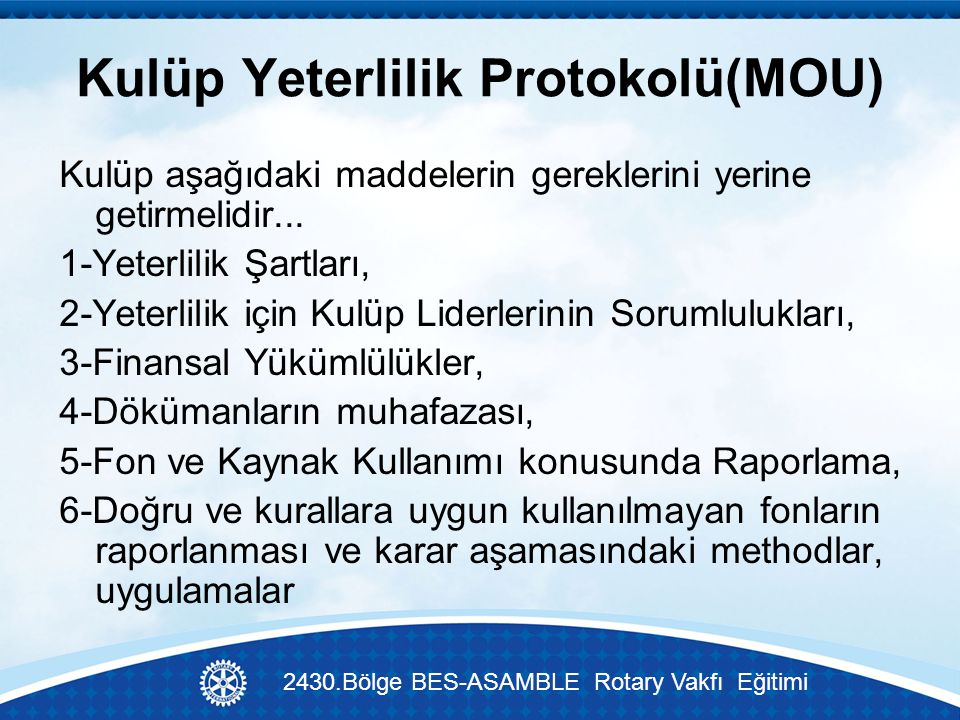 Kulüp Yeterlilik Protokolü(MOU)