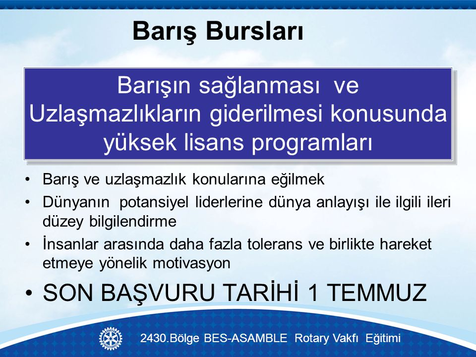 2430.Bölge BES-ASAMBLE Rotary Vakfı Eğitimi