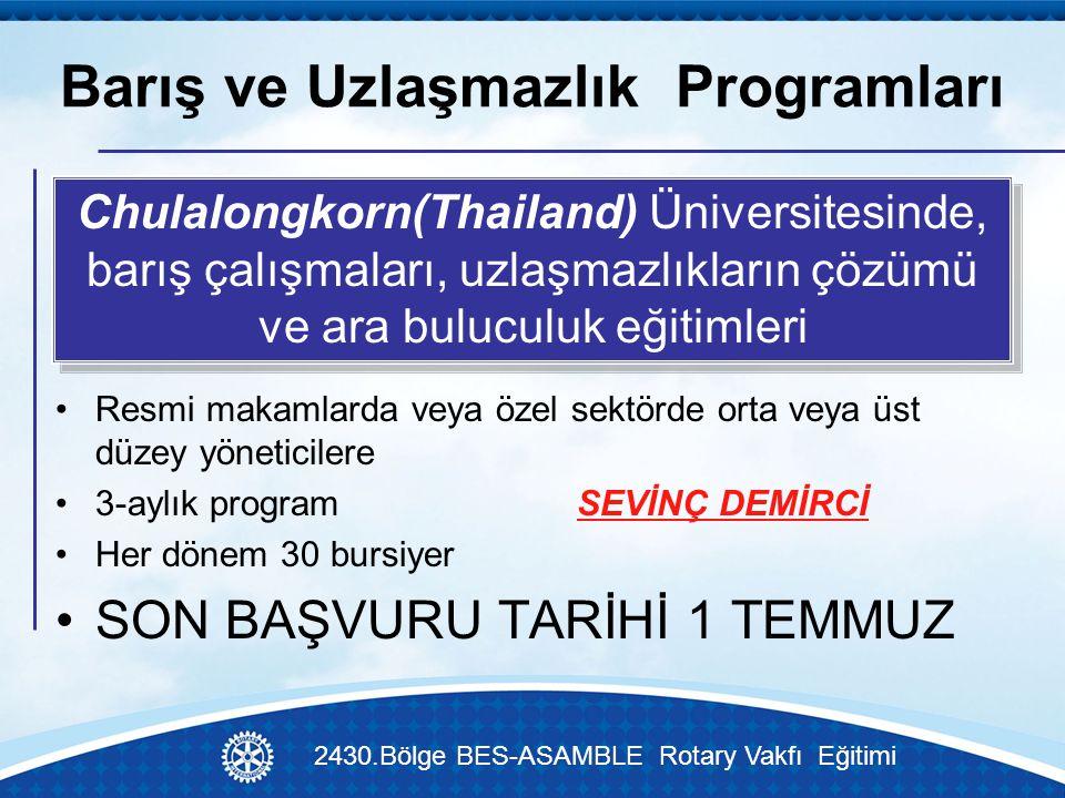 Barış ve Uzlaşmazlık Programları