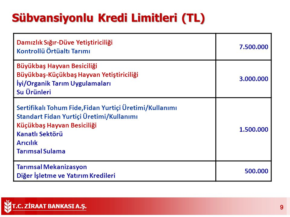 Sübvansiyonlu Kredi Limitleri (TL)
