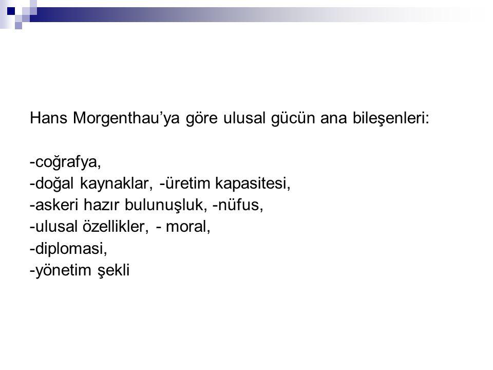 Hans Morgenthau'ya göre ulusal gücün ana bileşenleri:
