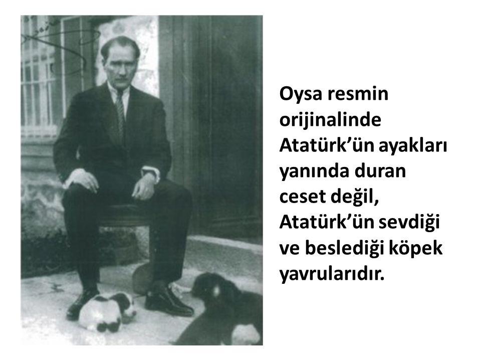 Oysa resmin orijinalinde Atatürk'ün ayakları yanında duran ceset değil, Atatürk'ün sevdiği ve beslediği köpek yavrularıdır.