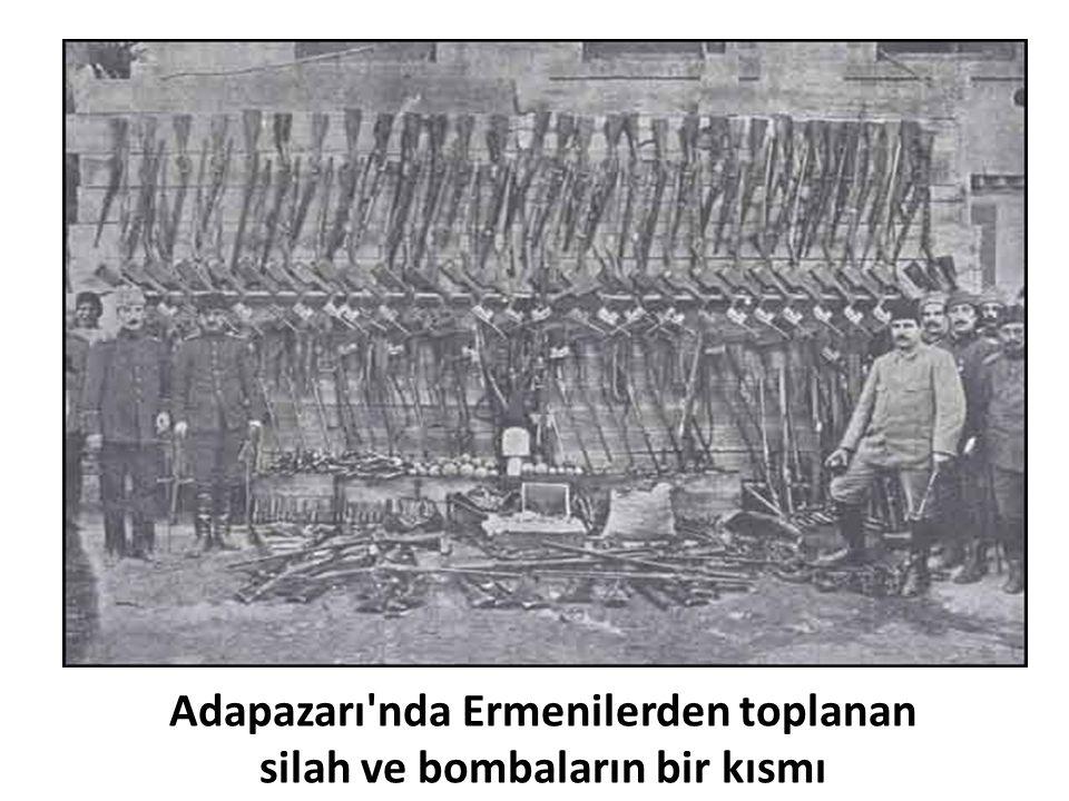 Adapazarı nda Ermenilerden toplanan silah ve bombaların bir kısmı