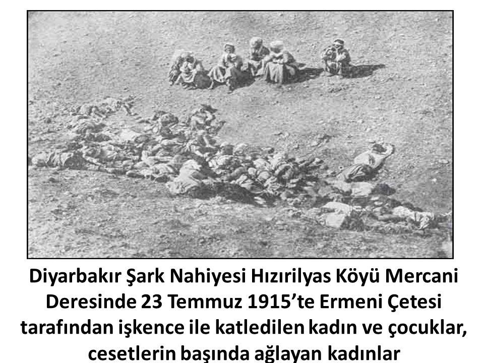 Diyarbakır Şark Nahiyesi Hızırilyas Köyü Mercani Deresinde 23 Temmuz 1915'te Ermeni Çetesi tarafından işkence ile katledilen kadın ve çocuklar, cesetlerin başında ağlayan kadınlar