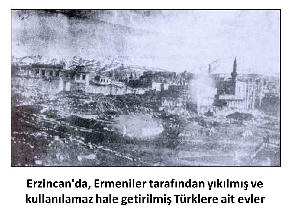 Erzincan da, Ermeniler tarafından yıkılmış ve kullanılamaz hale getirilmiş Türklere ait evler