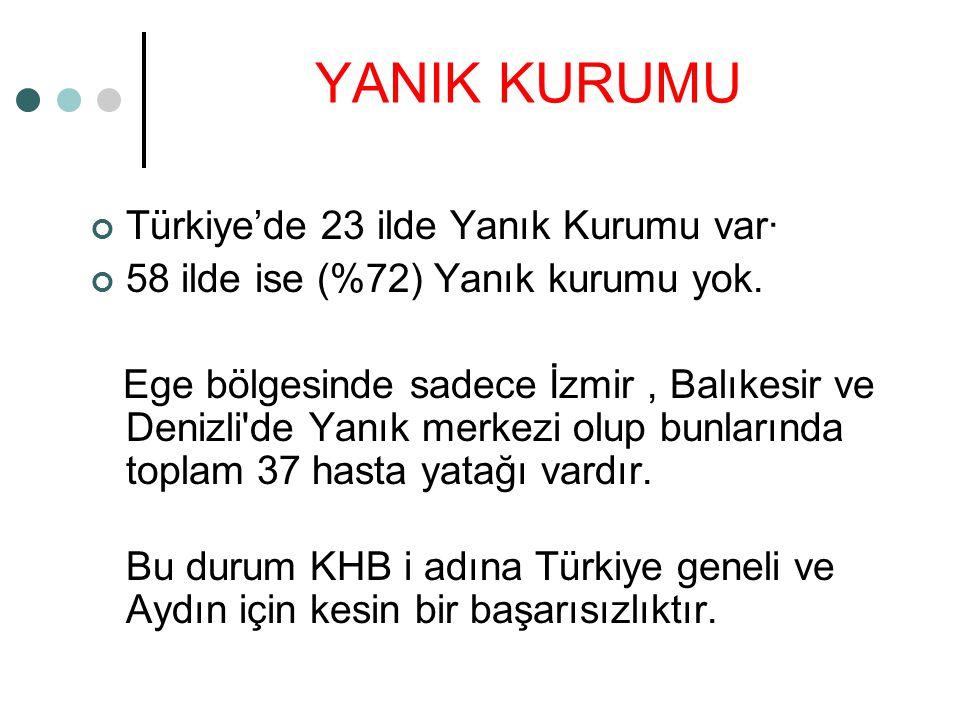 YANIK KURUMU Türkiye'de 23 ilde Yanık Kurumu var·