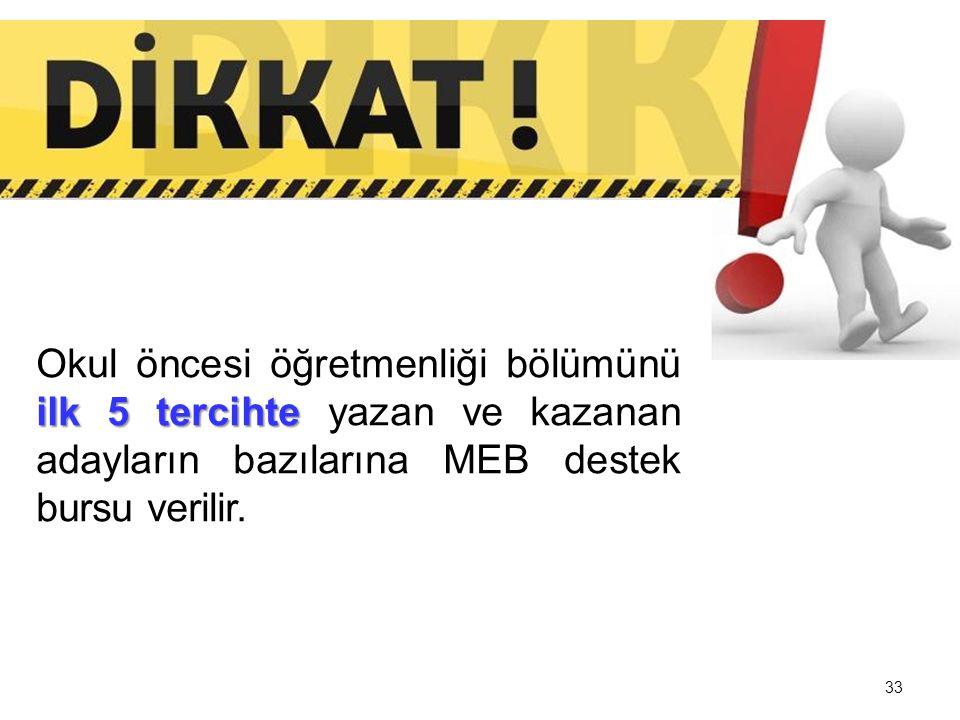 Okul öncesi öğretmenliği bölümünü ilk 5 tercihte yazan ve kazanan adayların bazılarına MEB destek bursu verilir.