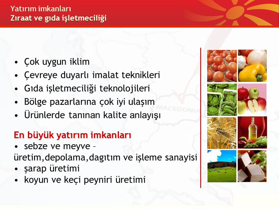 Yatırım imkanları Zıraat ve gıda işletmeciliği
