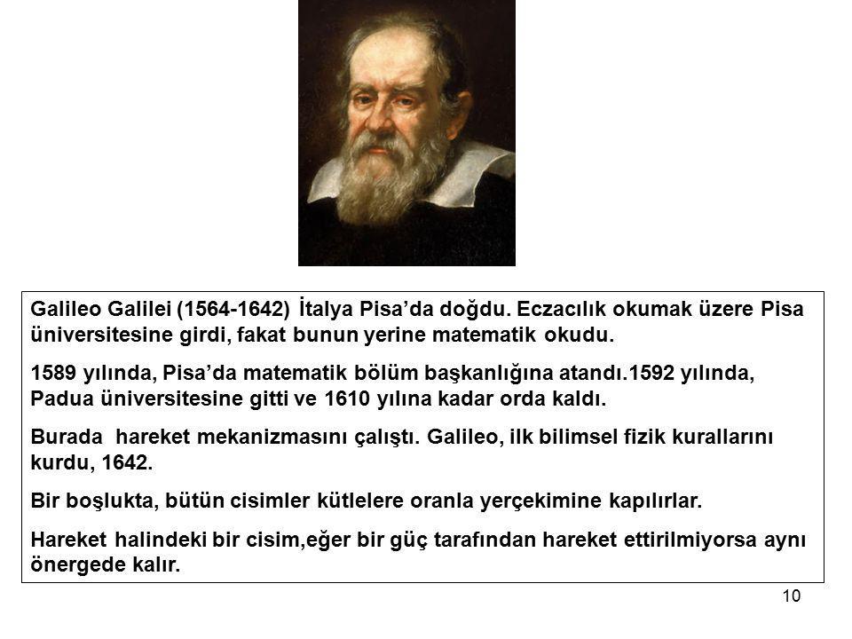 Galileo Galilei (1564-1642) İtalya Pisa'da doğdu