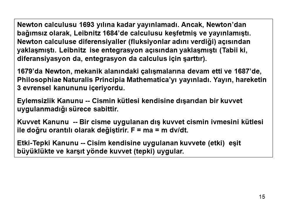 Newton calculusu 1693 yılına kadar yayınlamadı