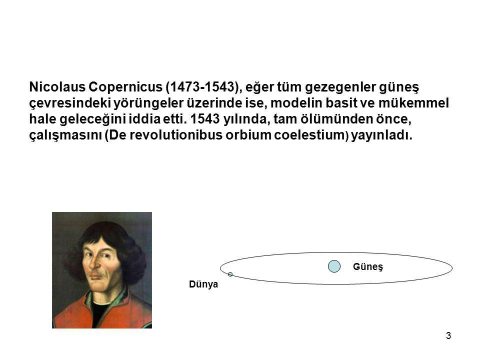 Nicolaus Copernicus (1473-1543), eğer tüm gezegenler güneş çevresindeki yörüngeler üzerinde ise, modelin basit ve mükemmel hale geleceğini iddia etti. 1543 yılında, tam ölümünden önce, çalışmasını (De revolutionibus orbium coelestium) yayınladı.