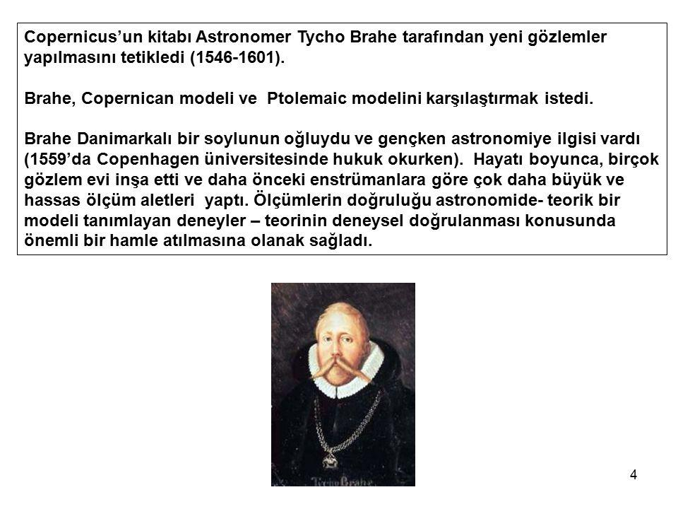 Copernicus'un kitabı Astronomer Tycho Brahe tarafından yeni gözlemler yapılmasını tetikledi (1546-1601).