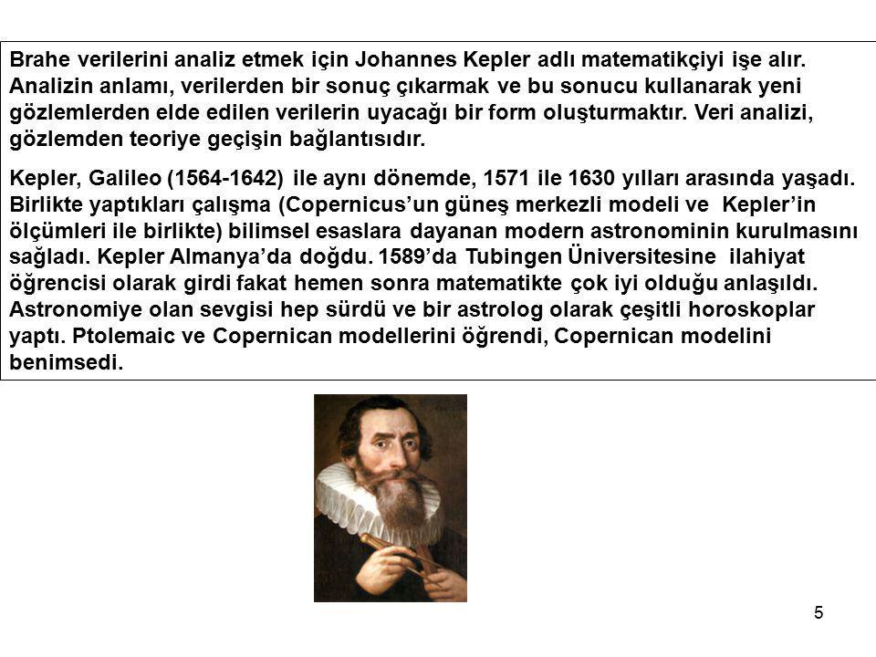 Brahe verilerini analiz etmek için Johannes Kepler adlı matematikçiyi işe alır. Analizin anlamı, verilerden bir sonuç çıkarmak ve bu sonucu kullanarak yeni gözlemlerden elde edilen verilerin uyacağı bir form oluşturmaktır. Veri analizi, gözlemden teoriye geçişin bağlantısıdır.
