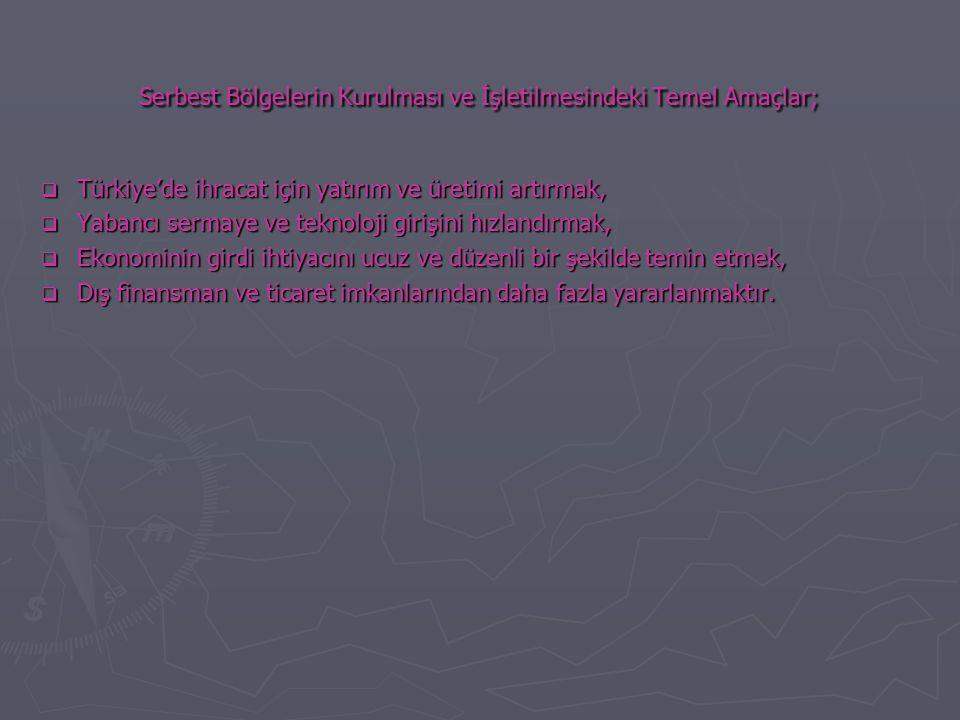 Serbest Bölgelerin Kurulması ve İşletilmesindeki Temel Amaçlar;