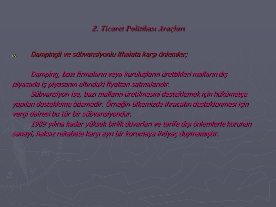 2. Ticaret Politikası Araçları
