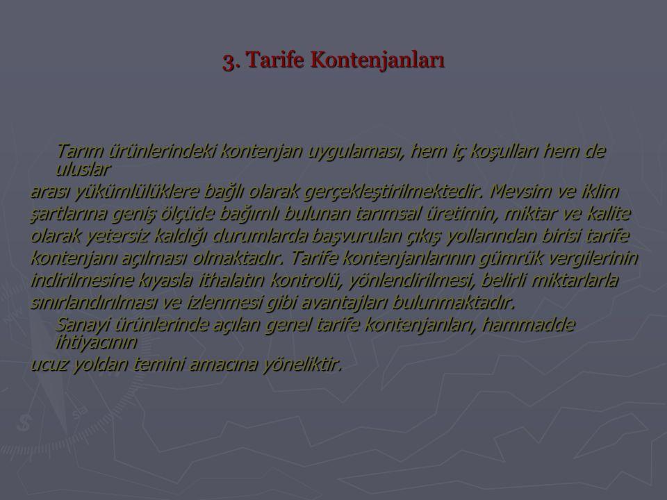 3. Tarife Kontenjanları Tarım ürünlerindeki kontenjan uygulaması, hem iç koşulları hem de uluslar.