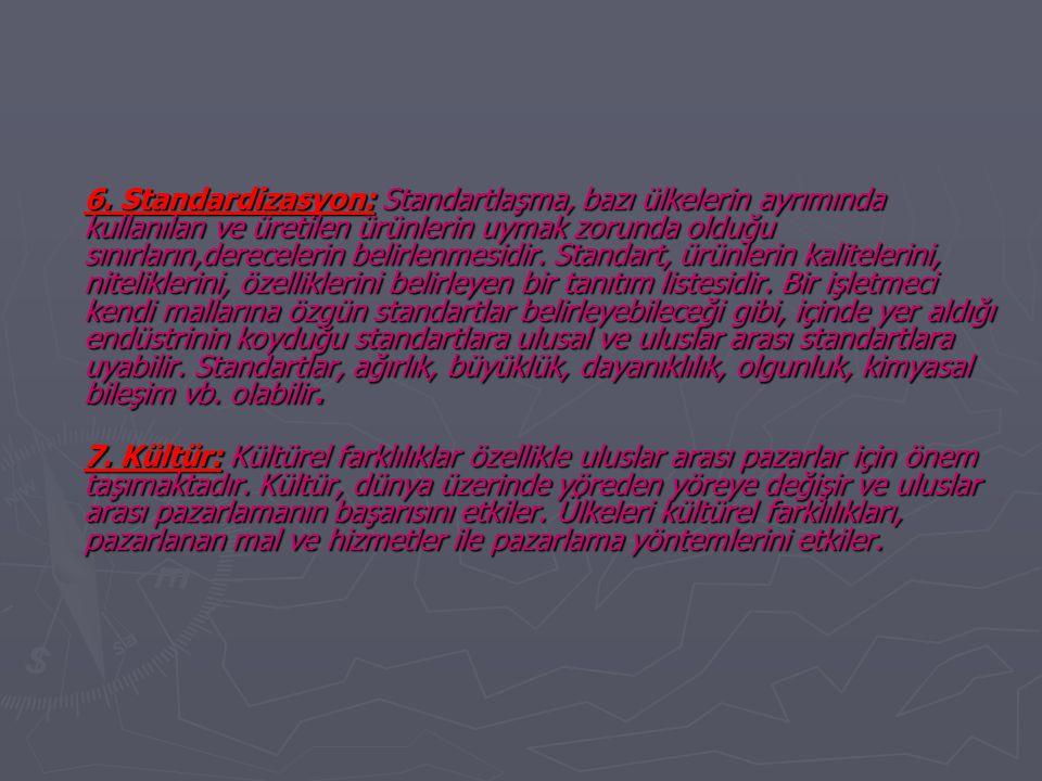 6. Standardizasyon: Standartlaşma, bazı ülkelerin ayrımında kullanılan ve üretilen ürünlerin uymak zorunda olduğu sınırların,derecelerin belirlenmesidir. Standart, ürünlerin kalitelerini, niteliklerini, özelliklerini belirleyen bir tanıtım listesidir. Bir işletmeci kendi mallarına özgün standartlar belirleyebileceği gibi, içinde yer aldığı endüstrinin koyduğu standartlara ulusal ve uluslar arası standartlara uyabilir. Standartlar, ağırlık, büyüklük, dayanıklılık, olgunluk, kimyasal bileşim vb. olabilir.
