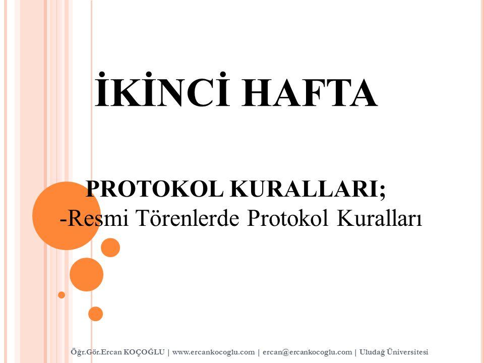 PROTOKOL KURALLARI; -Resmi Törenlerde Protokol Kuralları