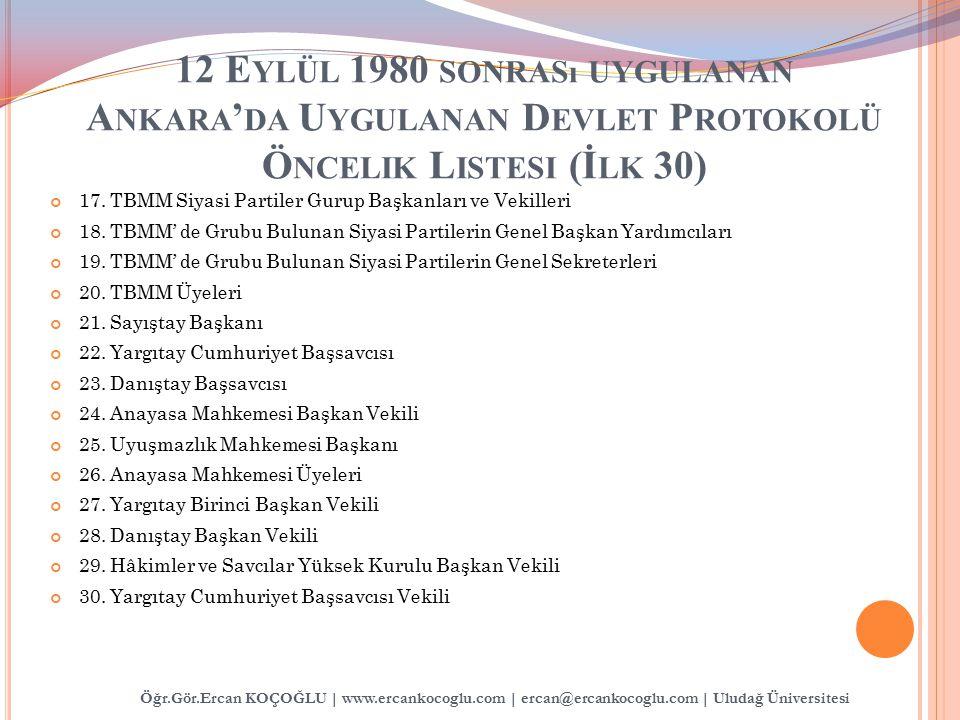 12 Eylül 1980 sonrası uygulanan Ankara'da Uygulanan Devlet Protokolü Öncelik Listesi (İlk 30)