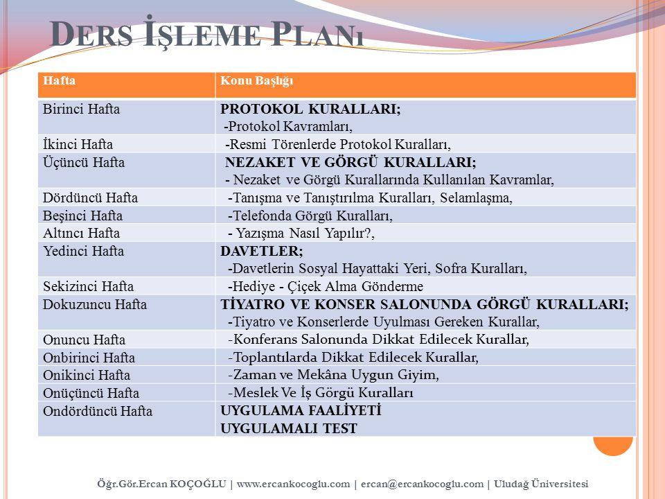 Ders İşleme Planı Birinci Hafta PROTOKOL KURALLARI;