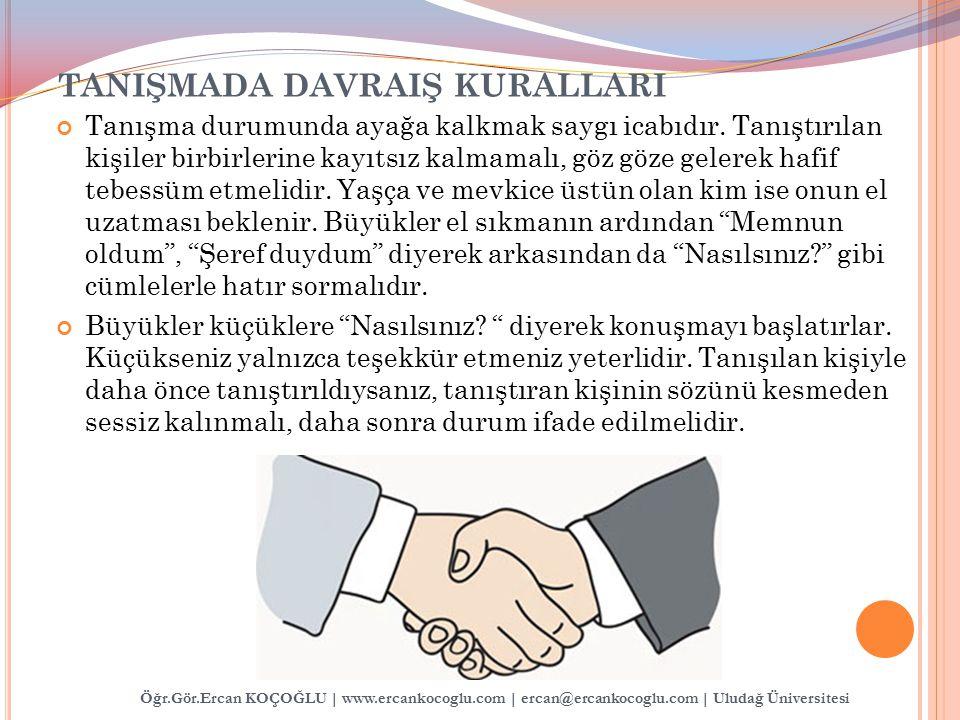 TANIŞMADA DAVRAIŞ KURALLARI