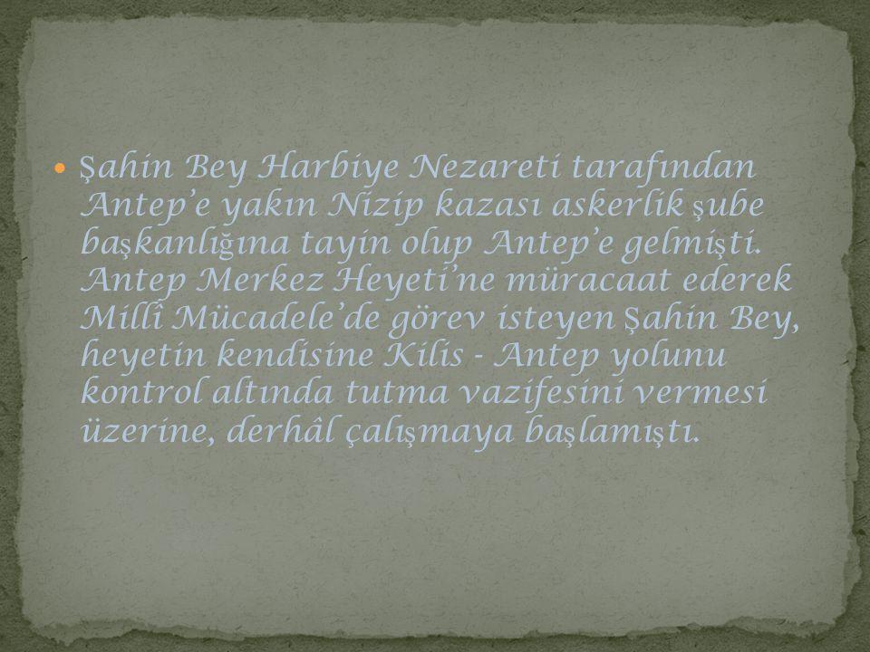 Şahin Bey Harbiye Nezareti tarafından Antep'e yakın Nizip kazası askerlik şube başkanlığına tayin olup Antep'e gelmişti.