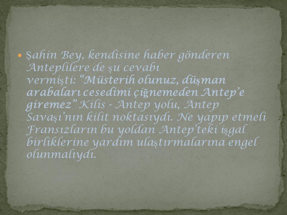 Şahin Bey, kendisine haber gönderen Anteplilere de şu cevabı vermişti: Müsterih olunuz, düşman arabaları cesedimi çiğnemeden Antep'e giremez Kilis - Antep yolu, Antep Savaşı'nın kilit noktasıydı.