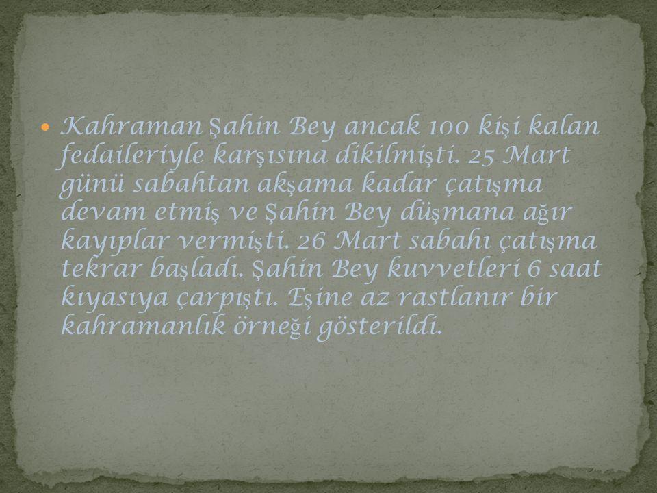 Kahraman Şahin Bey ancak 100 kişi kalan fedaileriyle karşısına dikilmişti.