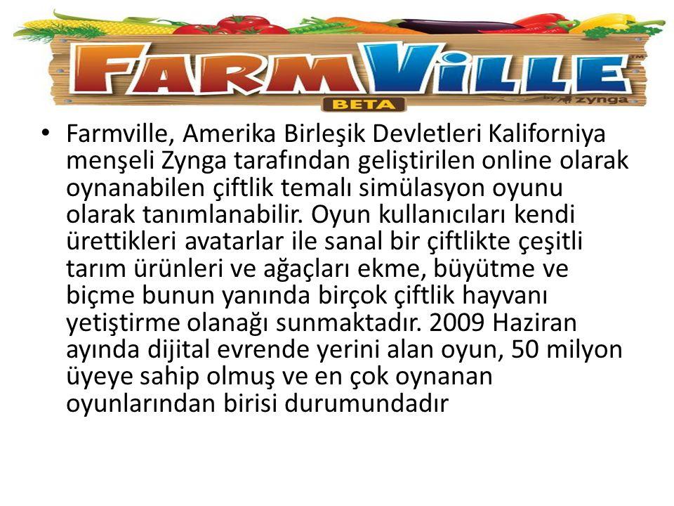 Farmville, Amerika Birleşik Devletleri Kaliforniya menşeli Zynga tarafından geliştirilen online olarak oynanabilen çiftlik temalı simülasyon oyunu olarak tanımlanabilir.