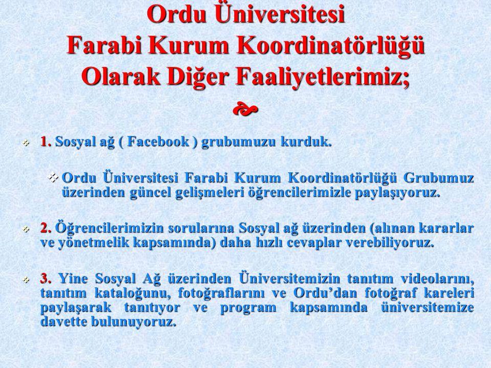 Ordu Üniversitesi Farabi Kurum Koordinatörlüğü Olarak Diğer Faaliyetlerimiz; 