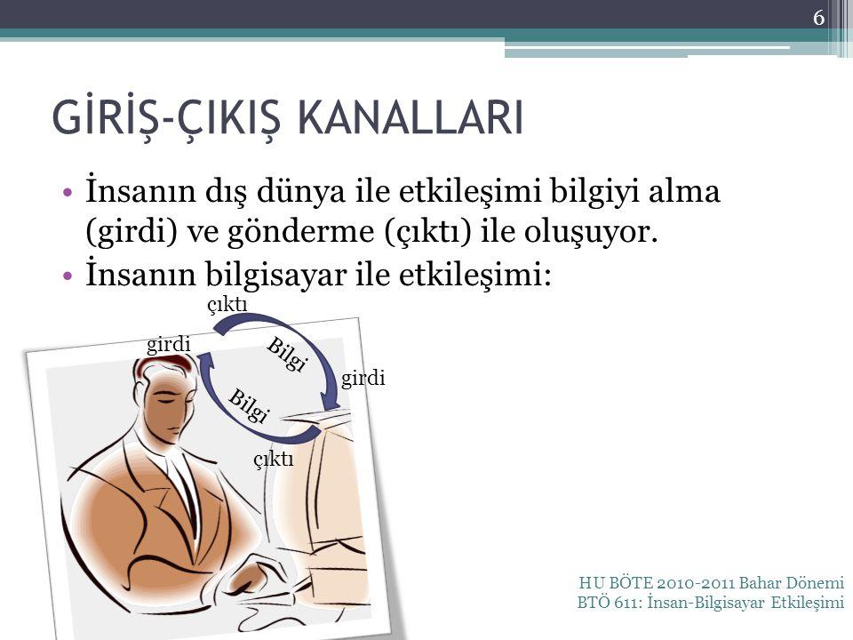 GİRİŞ-ÇIKIŞ KANALLARI