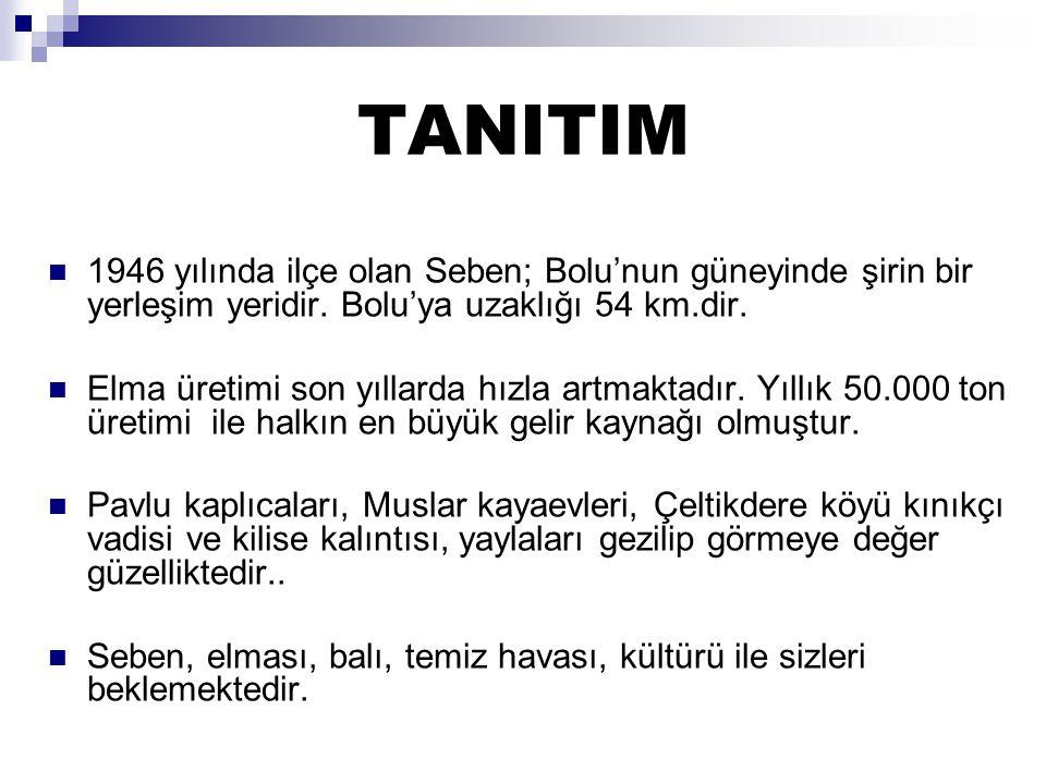 TANITIM 1946 yılında ilçe olan Seben; Bolu'nun güneyinde şirin bir yerleşim yeridir. Bolu'ya uzaklığı 54 km.dir.