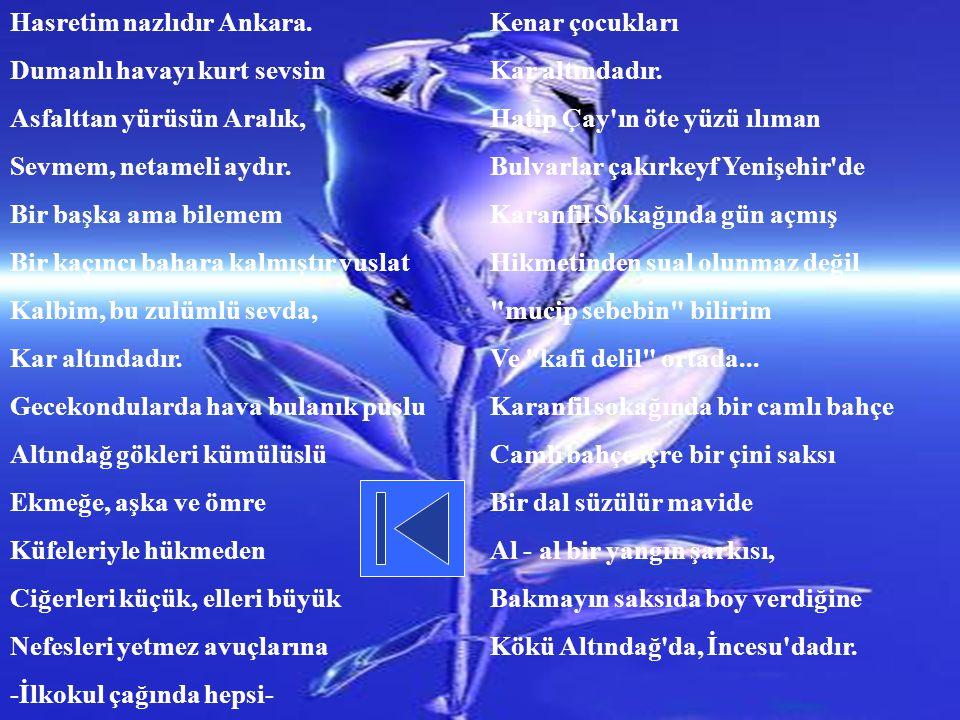 Hasretim nazlıdır Ankara.