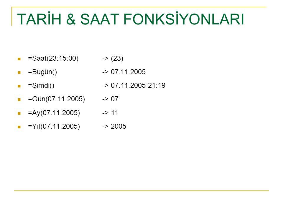 TARİH & SAAT FONKSİYONLARI