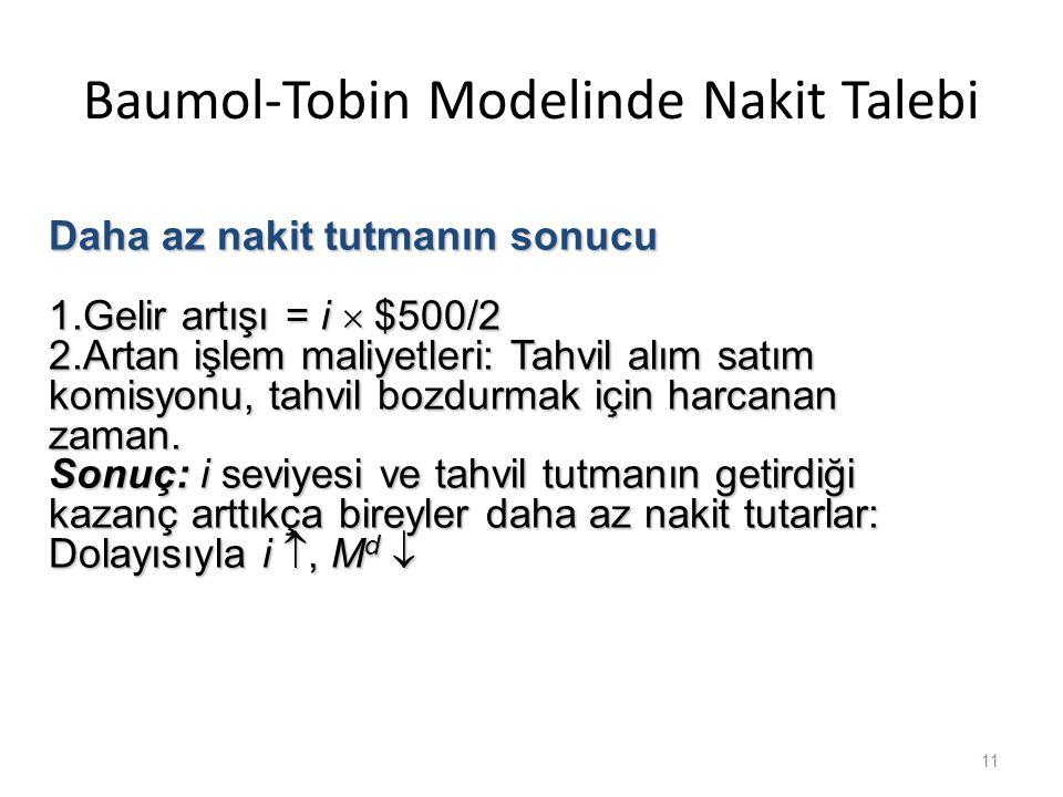 Baumol-Tobin Modelinde Nakit Talebi