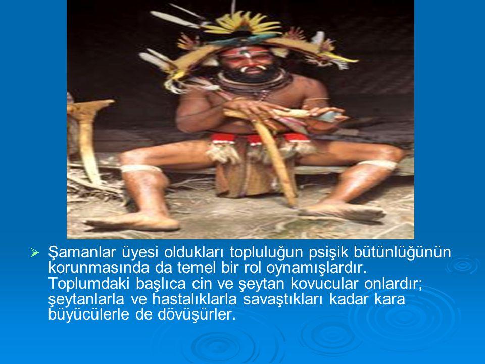 Şamanlar üyesi oldukları topluluğun psişik bütünlüğünün korunmasında da temel bir rol oynamışlardır.