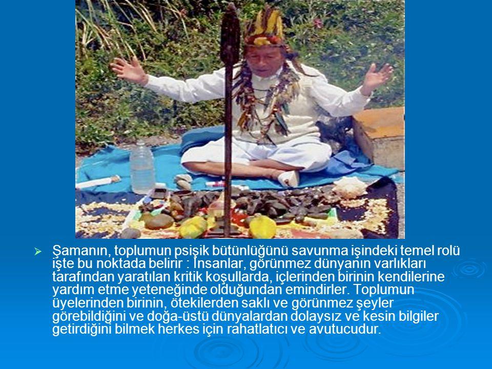 Şamanın, toplumun psişik bütünlüğünü savunma işindeki temel rolü işte bu noktada belirir : İnsanlar, görünmez dünyanın varlıkları tarafından yaratılan kritik koşullarda, içlerinden birinin kendilerine yardım etme yeteneğinde olduğundan emindirler.