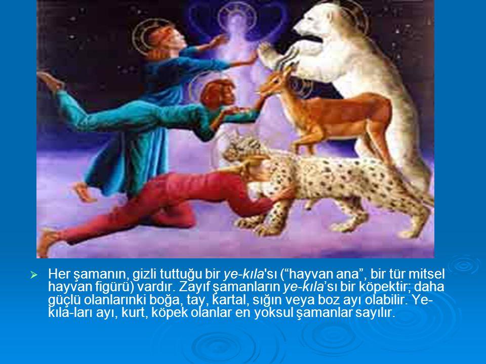 Her şamanın, gizli tuttuğu bir ye-kıla sı ( hayvan ana , bir tür mitsel hayvan figürü) vardır.