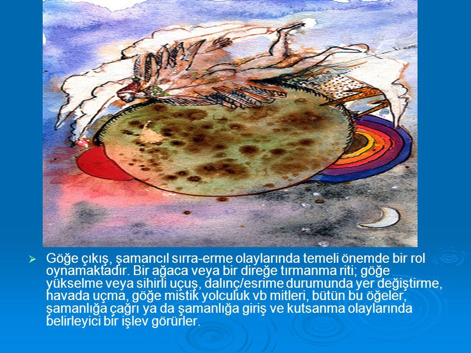 Göğe çıkış, şamancıl sırra-erme olaylarında temeli önemde bir rol oynamaktadır.