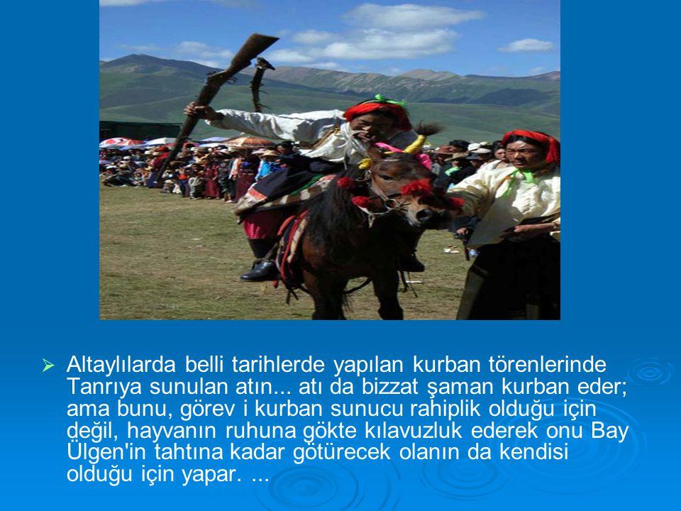 Altaylılarda belli tarihlerde yapılan kurban törenlerinde Tanrıya sunulan atın...