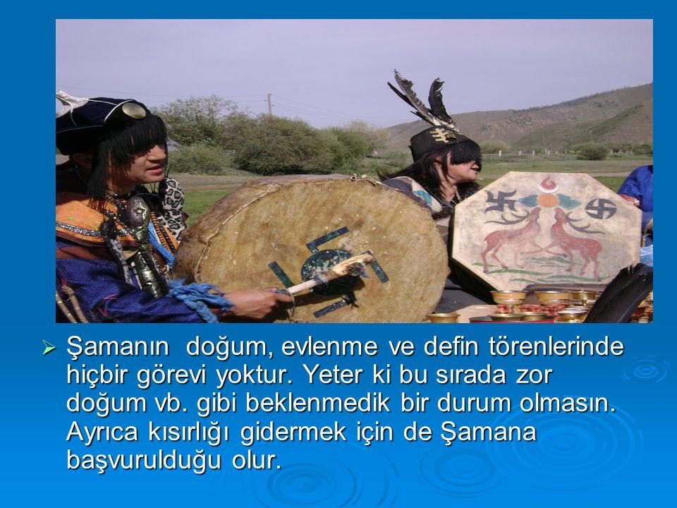 Şamanın doğum, evlenme ve defin törenlerinde hiçbir görevi yoktur