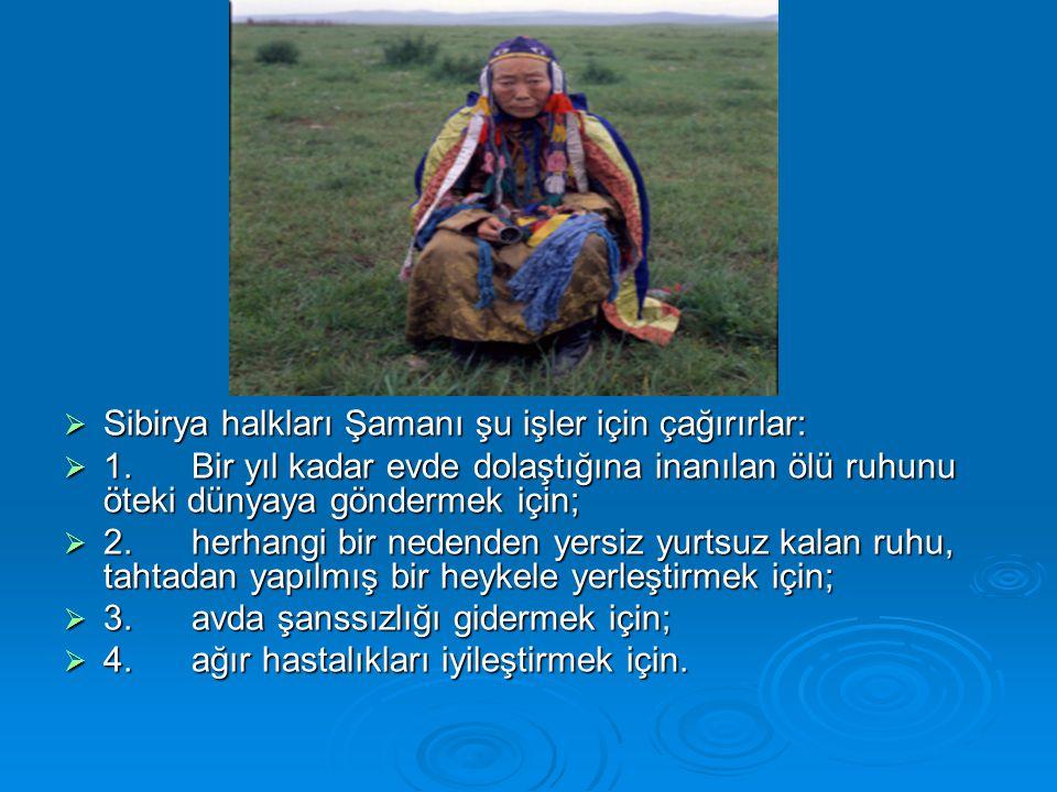 Sibirya halkları Şamanı şu işler için çağırırlar: