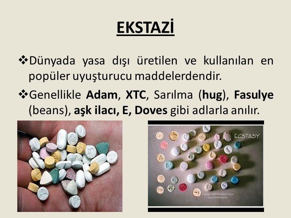 EKSTAZİ Dünyada yasa dışı üretilen ve kullanılan en popüler uyuşturucu maddelerdendir.