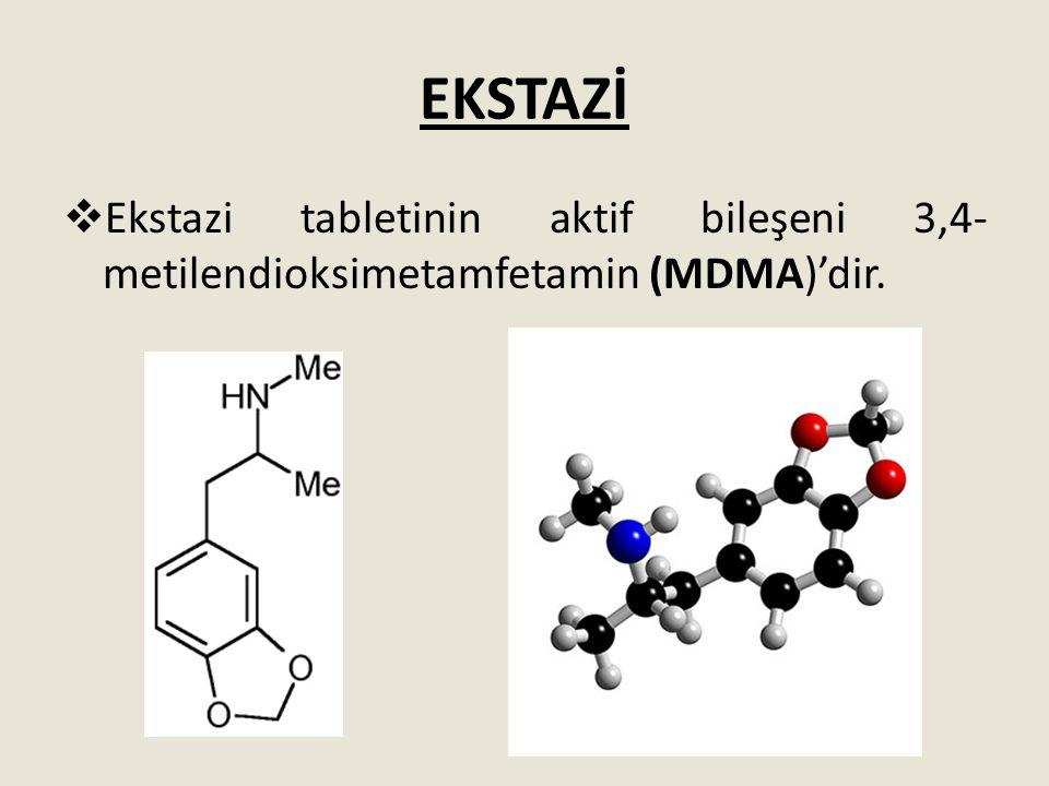 EKSTAZİ Ekstazi tabletinin aktif bileşeni 3,4-metilendioksimetamfetamin (MDMA)'dir.