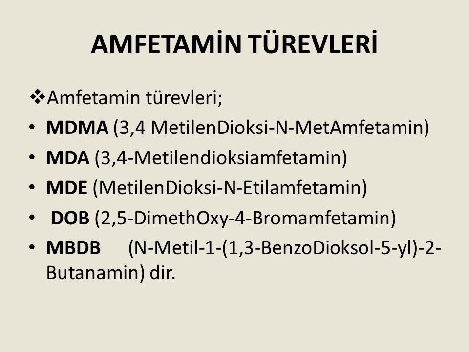 AMFETAMİN TÜREVLERİ Amfetamin türevleri;
